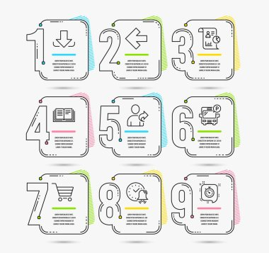 Infographic template with numbers 9 options. Set of Market sale, Left arrow and Bus parking icons. Report, Alarm bell and Education signs. Refer friend, Download and Timer symbols. Vector