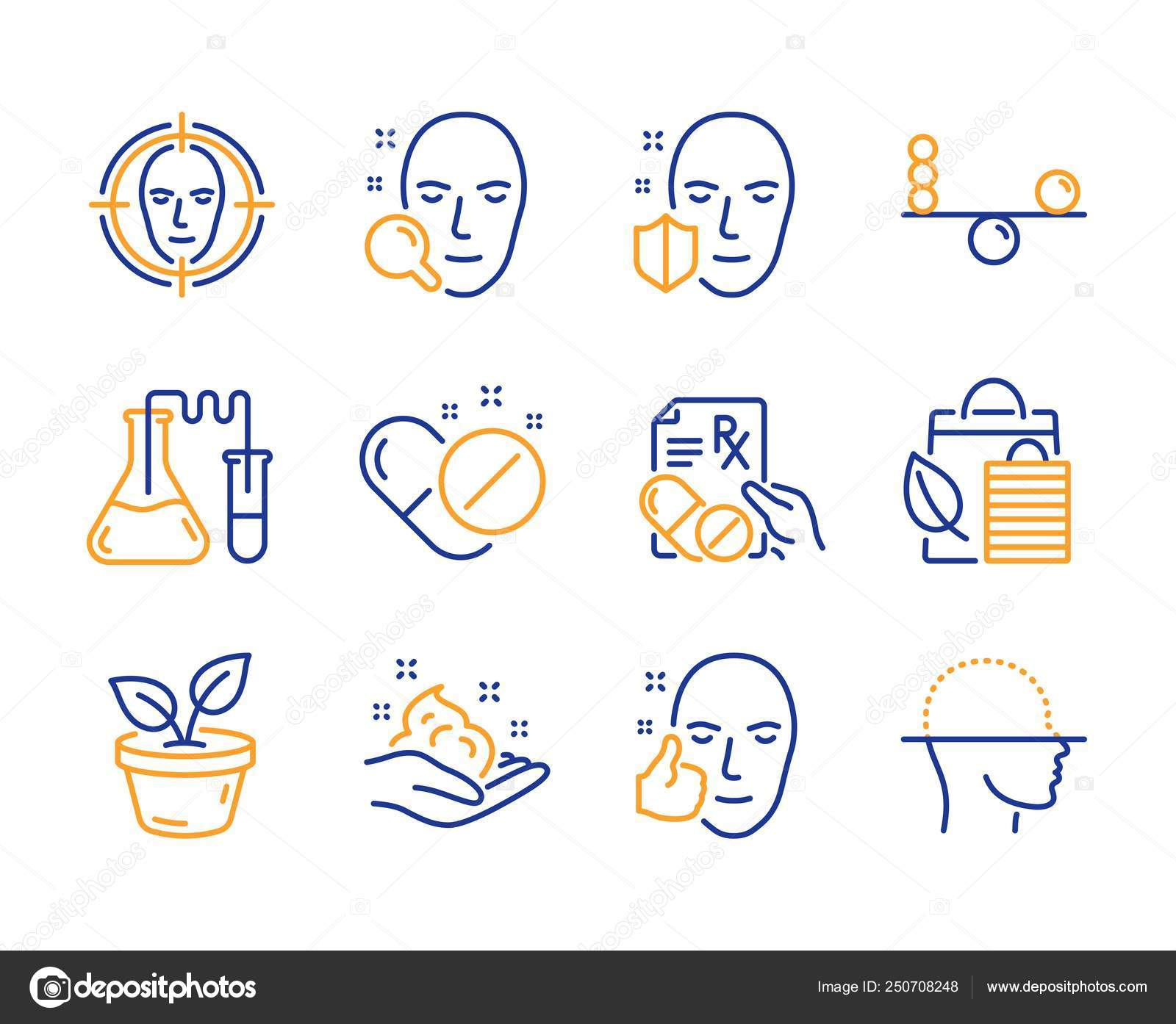 Bio Shopping Face Detect Skin Care Icons Simple Set Prescription