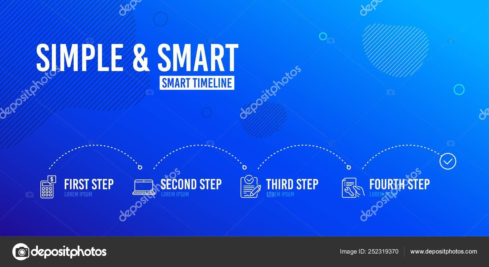 Infographic Timeline Rfp Notebook Calculator Icons Simple