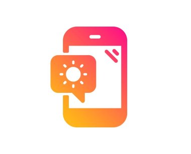 Weather phone icon. Travel device sign. Holidays symbol. Classic flat style. Gradient weather phone icon. Vector