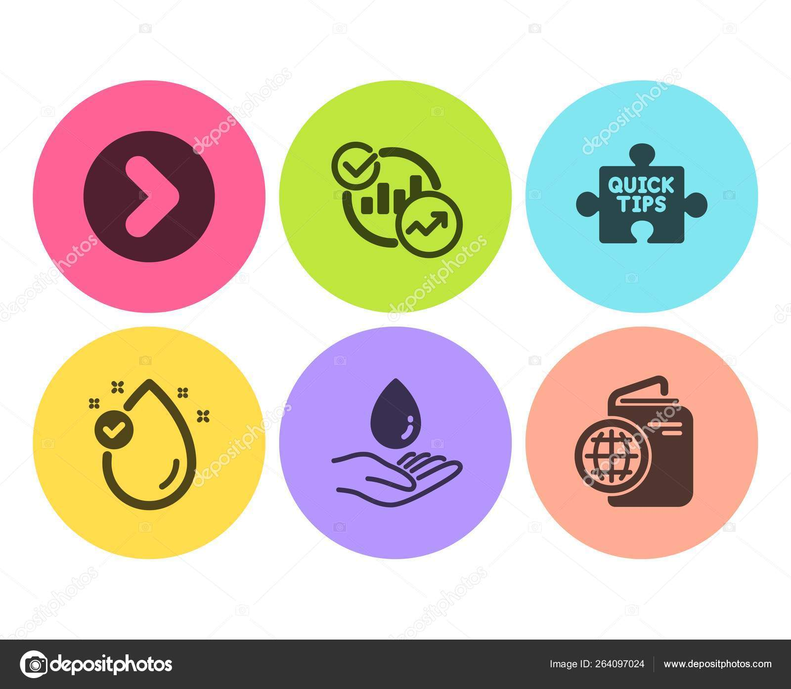 Vitamin Quick Tips Statistics Icons Simple Set Water Care Forward