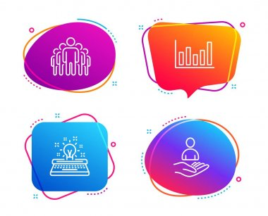 Column chart, Group and Typewriter icons set. Recruitment sign. Financial graph, Managers, Inspiration. Hr. Vector