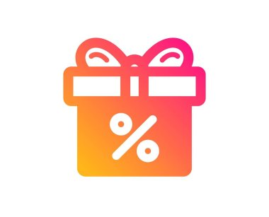 Gift box with Percentage icon. Present or Sale sign. Birthday Shopping symbol. Package in Gift Wrap. Classic flat style. Gradient discount offer icon. Vector