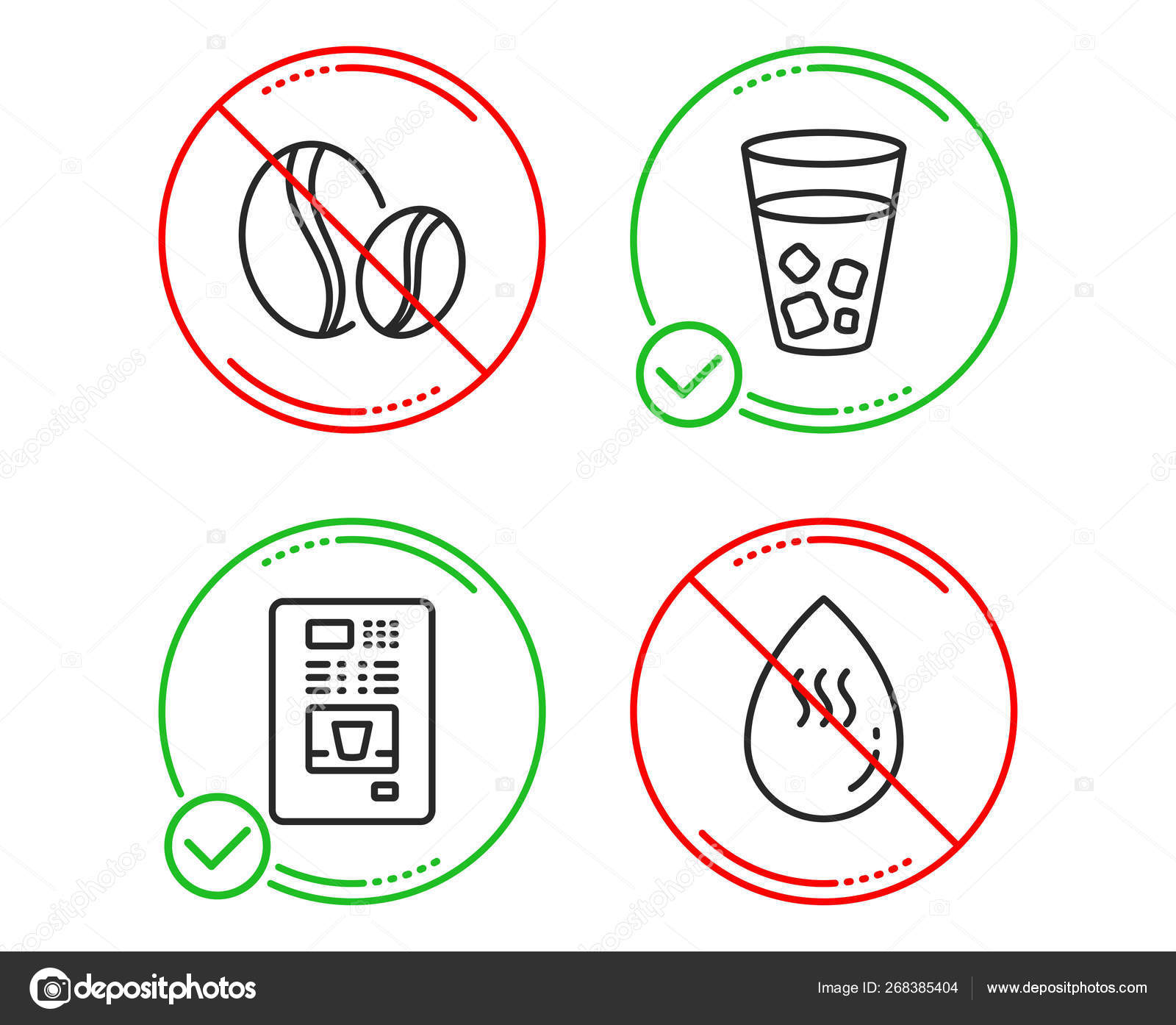Coffee beans, Ice tea and Coffee vending icons set  Hot water si