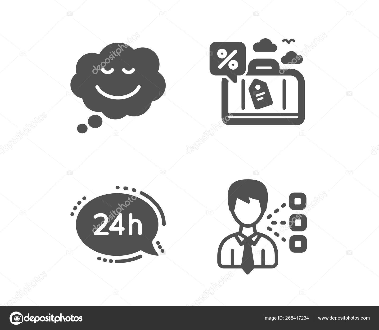 24h service, Travel loan and Speech bubble icons  Third party si
