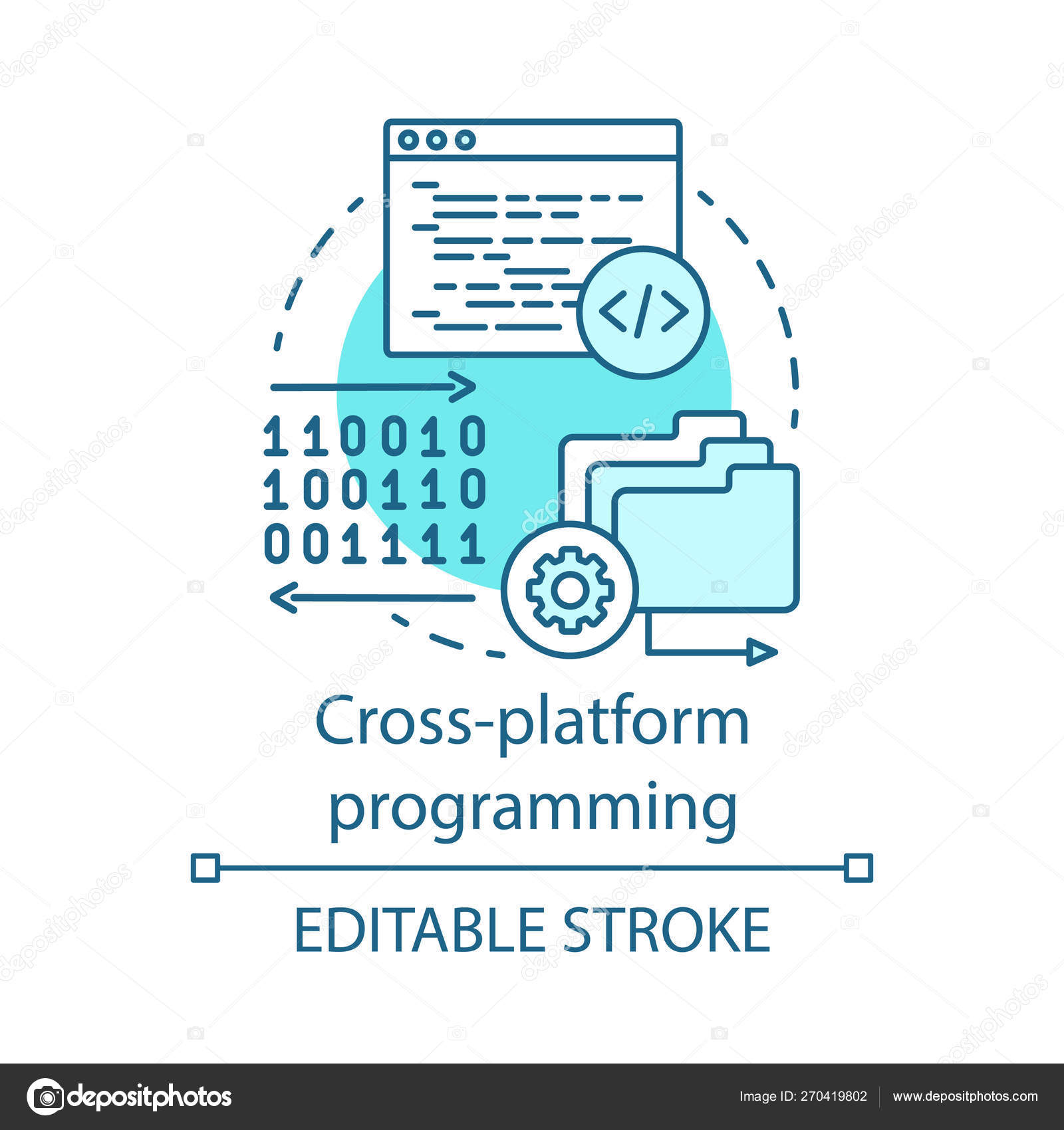 Cross platform programming, coding concept icon — Stock Vector