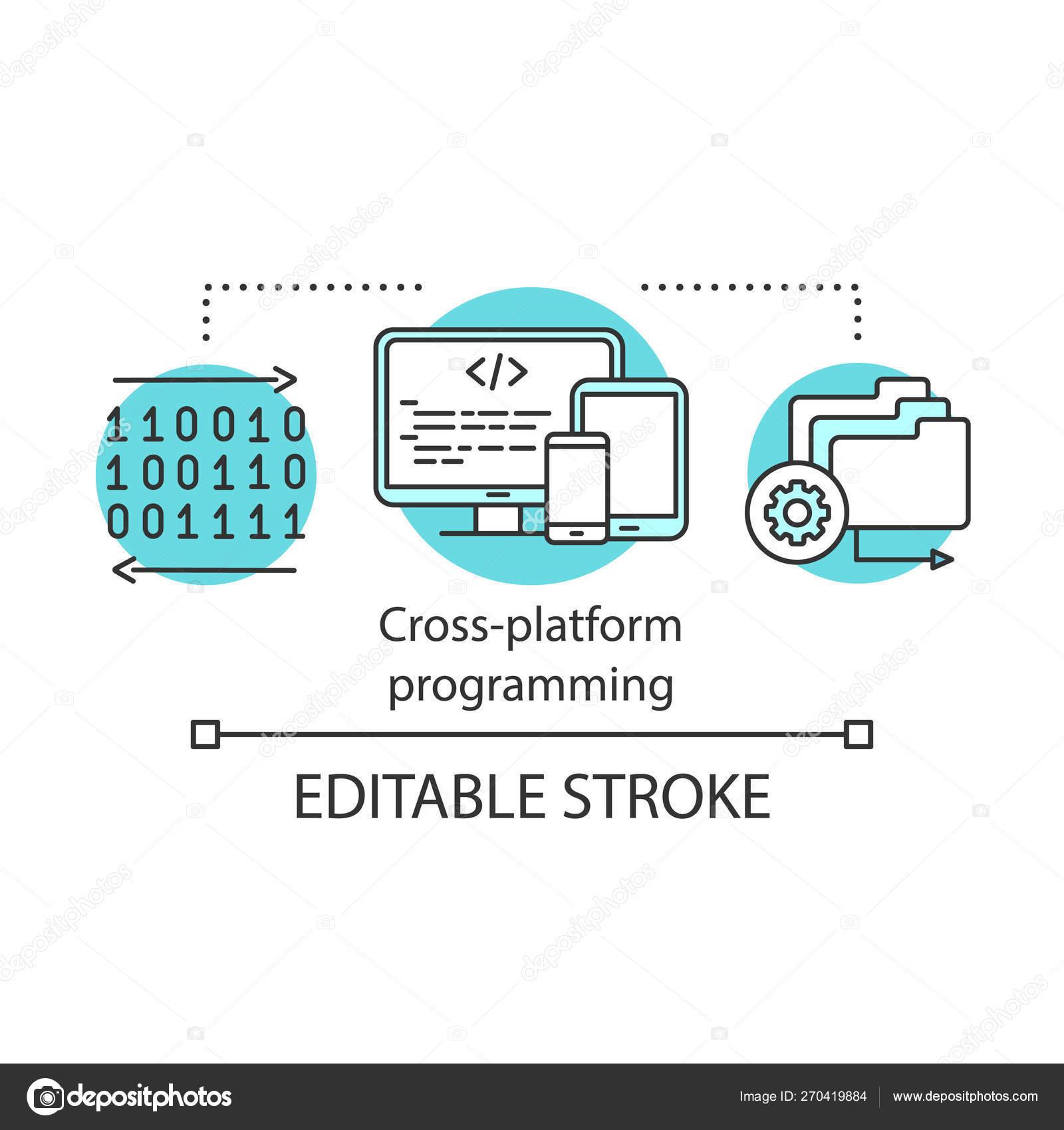 Cross platform app programming concept icon — Stock Vector