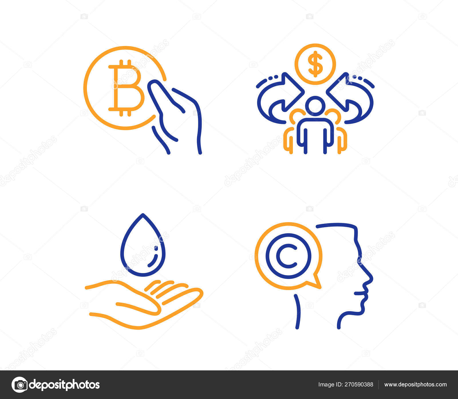 Sharing economy, Water care and Bitcoin pay icons set