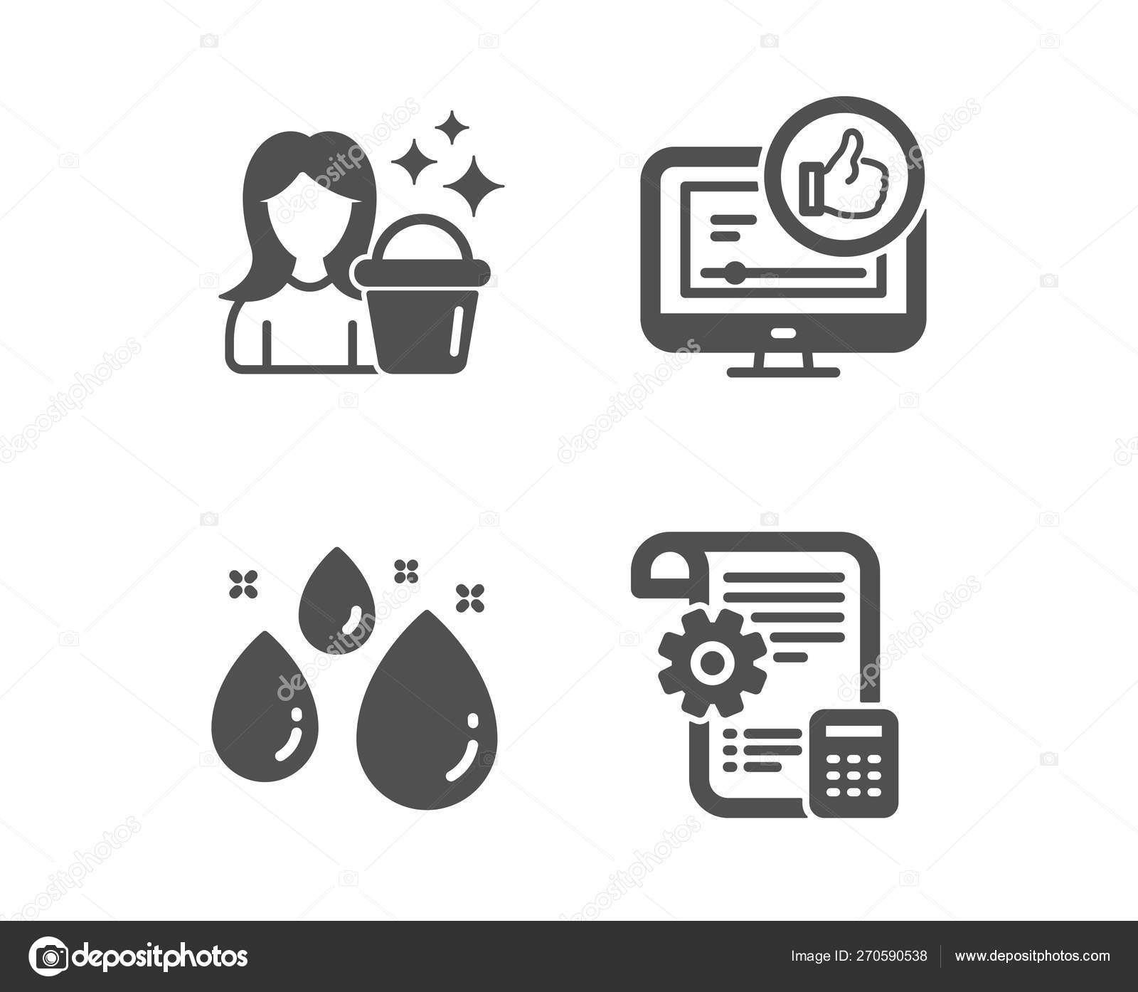 Like video, Water drop and Cleaning icons  Settings blueprint si