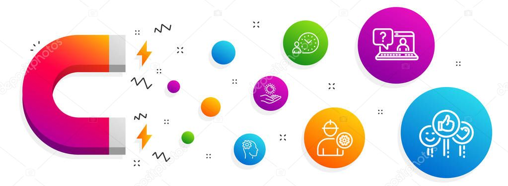 Faq, Engineering and Time management icons set. Engineer, Sun pr