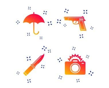 Gun weapon. Knife, umbrella and photo camera. Vector