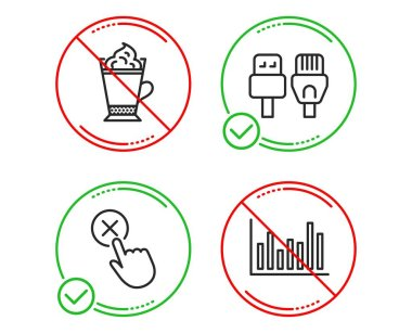 Reject click, Latte coffee and Computer cables icons set. Bar diagram sign. Vector