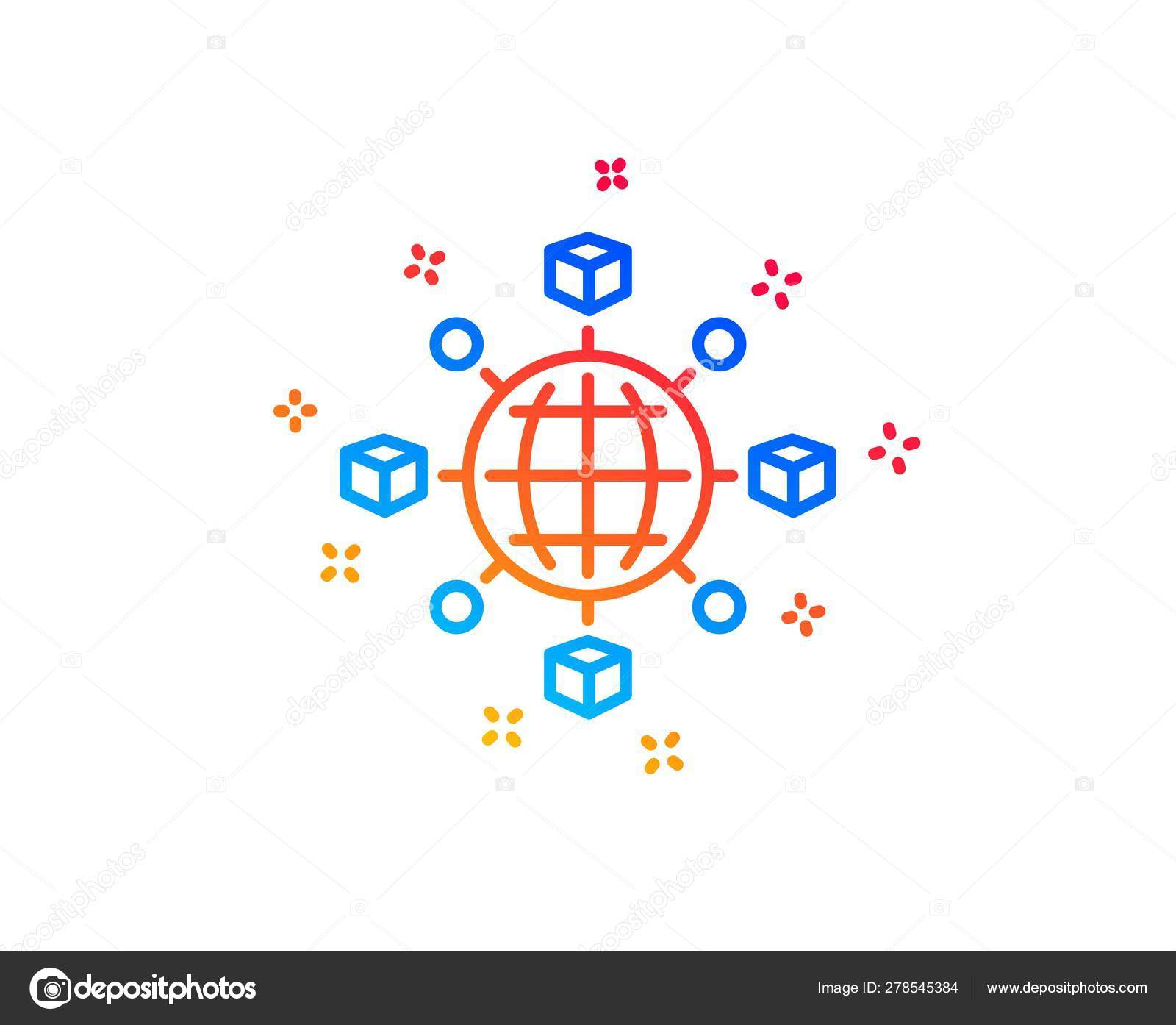 Logistics network line icon  Parcel tracking  Vector — Stock