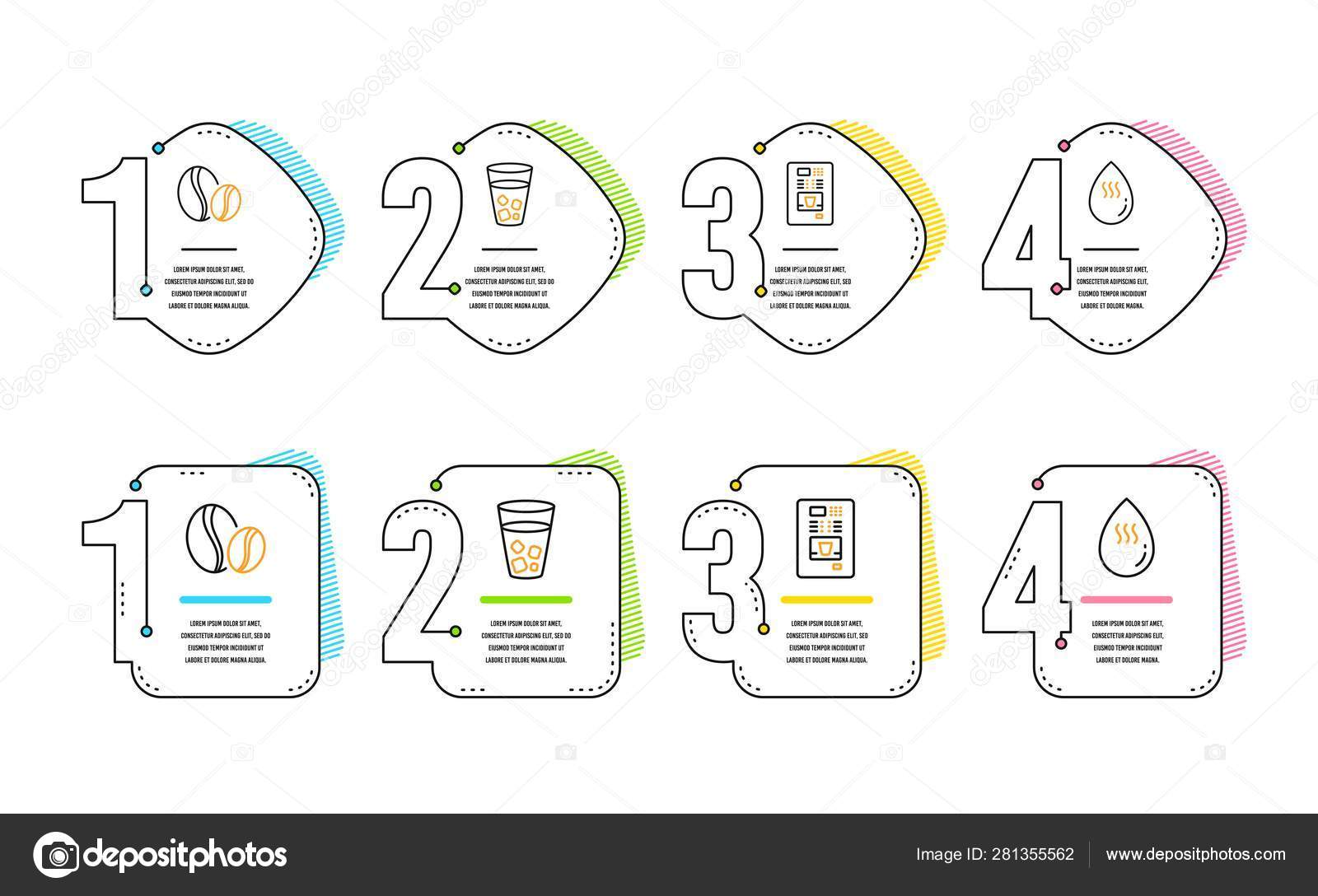 Coffee beans, Ice tea and Coffee vending icons set  Hot