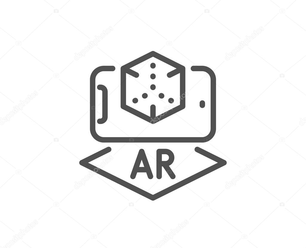 Augmented reality phone line icon. VR simulation sign. 3d cube. Vector — Stock Vector ...