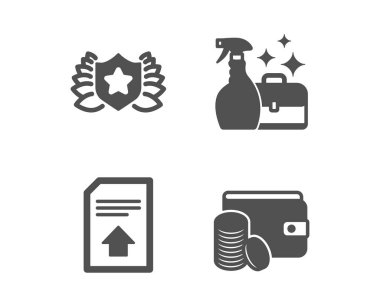 Upload file, Laureate and Cleanser spray icons. Payment method sign. Vector