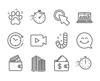 Set of Business icons, such as Click here, Smile face, Pet friendly. Vector