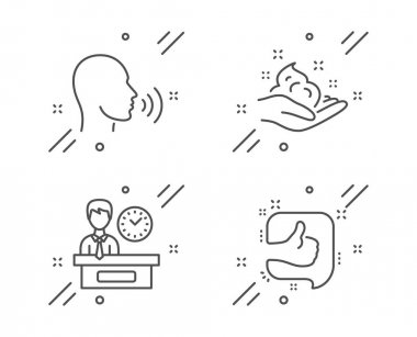 Human sing, Skin care and Presentation time icons set. Like sign. Talk, Hand cream, Report. Thumb up. Vector