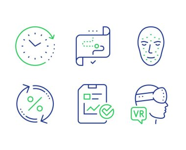 Loan percent, Face biometrics and Report checklist icons set. Vector