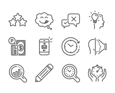 Set of Technology icons, such as Seo analysis, Time management, Face id. Vector