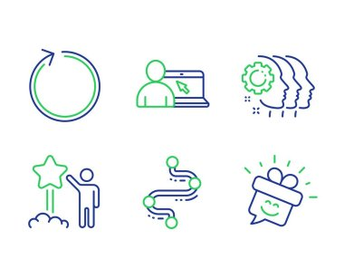 Loop, Star and Employees teamwork icons set. Timeline, Online education and Smile signs. Vector