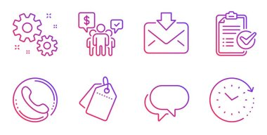 Survey checklist, Work and Talk bubble icons set. Teamwork, Sale tags and Incoming mail signs. Vector