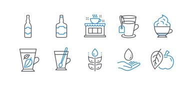 Set of Food and drink icons, such as Coffee shop, Beer bottle, Tea mug, Tea, Whiskey bottle, Gluten free, Mint leaves, Cappuccino cream, Water care, Apple line icons. Line coffee shop icon. Vector icon