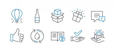 Set of Business icons, such as Refill water, Like hand, Champagne bottle, Comment, Packing boxes, Help, Air balloon, Gift, Dermatologically tested, Skin care line icons. Line refill water icon. Vector icon