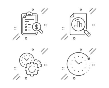 Time management, Analytics graph and Accounting report icons set. Time change sign. Vector
