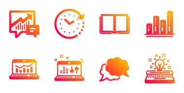 Accounting, Book and Graph chart icons set. Time change, Web analytics and Sound check signs. Vector