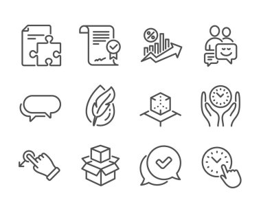 Set of Technology icons, such as Loan percent, Time management, Hypoallergenic tested, Approved, Drag drop, Strategy, Augmented reality, Packing boxes, Approved agreement, Messenger. Vector icon