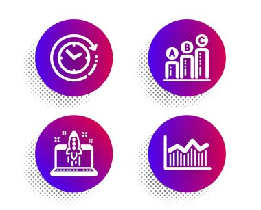 Start business, Time change and Graph chart icons set. Money diagram sign. Launch idea, Clock, Growth report. Vector