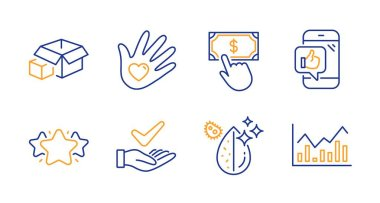 Star, Dermatologically tested and Packing boxes line icons set. Mobile like, Dirty water and Payment click signs. Social responsibility, Infochart symbols. Favorite, Organic. Business set. Vector icon