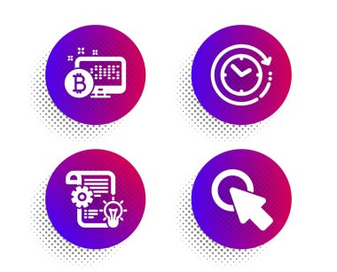Bitcoin system, Cogwheel and Time change icons set. Click here sign. Cryptocurrency monitor, Idea bulb, Clock. Vector
