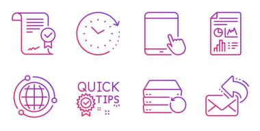 Globe, Tablet pc and Recovery server icons set. Report document, Approved agreement and Time change signs. Vector