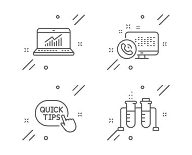 Web call, Quick tips and Online statistics icons set. Chemistry beaker sign. Vector