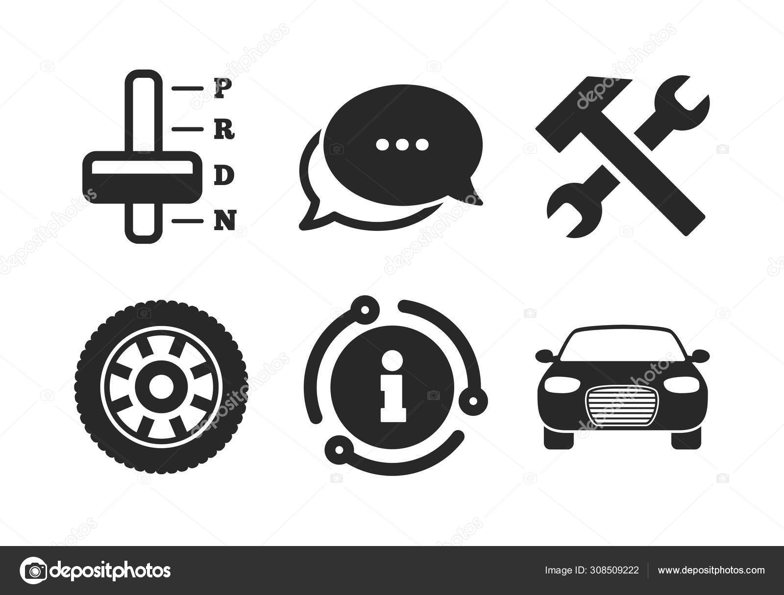 Car Tachometer Automatic Transmission Symbols Chat Info Sign Transport Icons Stock Vector C Blankstock 308509222