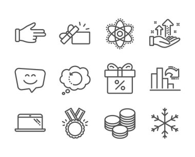 Set of Business icons, such as Smile face, Click hand, Decreasing graph, Analysis graph, Discount offer, Chemistry atom, Opened gift, Honor, Snowflake, Recovery data, Tips, Laptop. Vector clip art vector