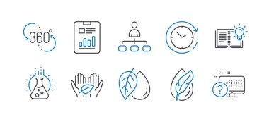 Set of Science icons, such as Mineral oil, 360 degree, Product knowledge. Vector