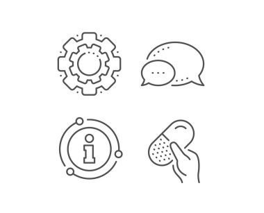 Capsule pill line icon. Medical drugs sign. Pharmacy medication. Vector