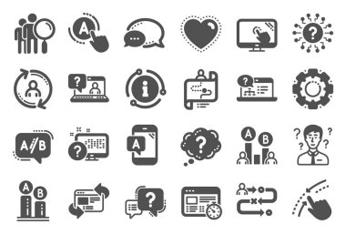 UX icons. Set of AB testing, Journey path map and Question mark icons. Vector