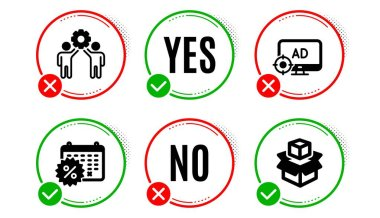 Seo adblock, Employees teamwork and Calendar discounts icons simple set. Yes no check box. Packing boxes sign. Search engine, Collaboration, Shopping. Delivery package. Business set. Vector icon