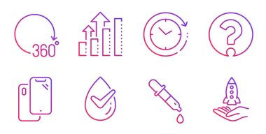 Analysis graph, Dermatologically tested and Time change icons set. Vector