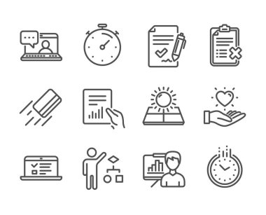 Set of Business icons, such as Reject checklist, Timer, Document. Vector