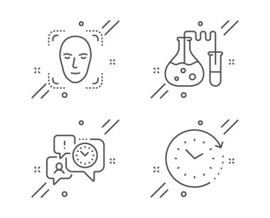 Face detection, Chemistry lab and Time management icons set. Time change sign. Vector