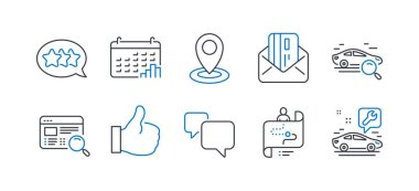 Set of Technology icons, such as Journey path, Search car, Stars. Vector