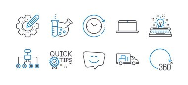 Set of Technology icons, such as Quick tips, Restructuring, Chemistry lab. Vector