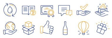 Set of Business icons, such as Refill water, Like hand. Certificate, save planet. Champagne bottle, Comment, Packing boxes. Help, Air balloon, Gift. Vector icon