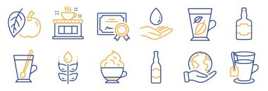 Set of Food and drink icons, such as Coffee shop, Beer bottle. Certificate, save planet. Tea mug, Tea, Whiskey bottle. Gluten free, Mint leaves, Cappuccino cream. Water care, Apple line icons. Vector icon