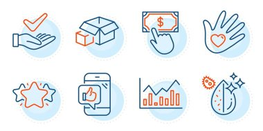 Mobile like, Dirty water and Payment click signs. Star, Dermatologically tested and Packing boxes line icons set. Social responsibility, Infochart symbols. Favorite, Organic. Business set. Vector icon